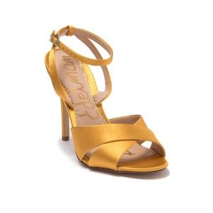 Sam Edelman Gold Caramel Satin Heels | 5.5
